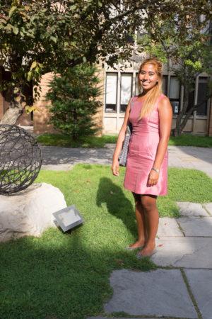 Victoria Fard in the Massey College quad