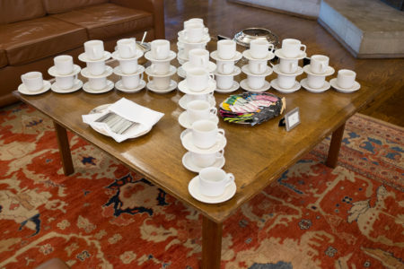 Tea service in the Massey College common room