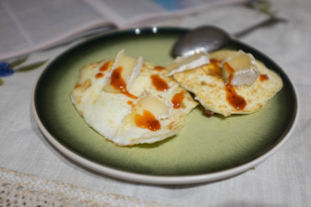 Eggs, cheese, and hot sauce