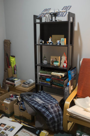 Books and moving boxes
